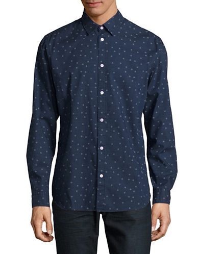 Selected Homme Floral Neat Shirt-BLUE-Large