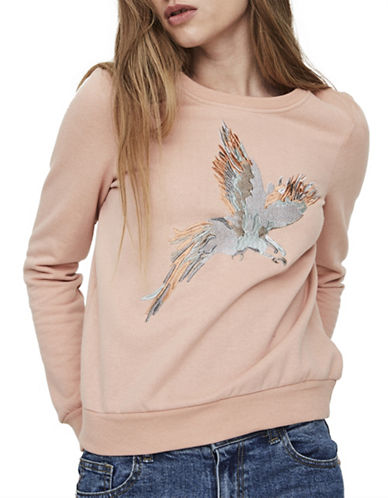 Noisy May Nmfly Bird Embroidered Sweatshirt-PINK-Small 89148524_PINK_Small