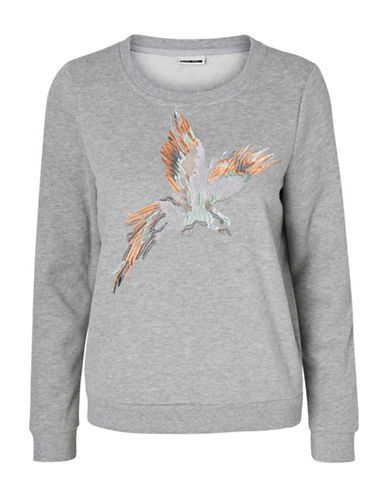 Noisy May Nmfly Bird Embroidered Sweatshirt-GREY-Medium 89148529_GREY_Medium