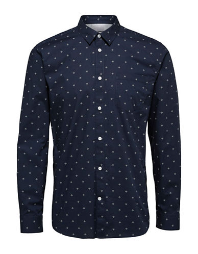 Selected Homme Floral Print Sport Shirt-BLUE-Small