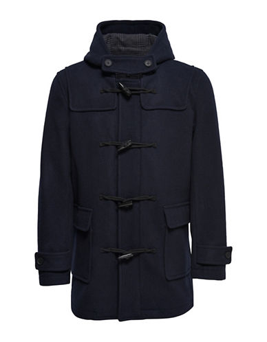 Only And Sons Zipped Hooded Duffle Coat-BLUE-Large