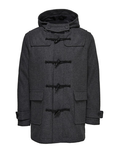 Only And Sons Zipped Hooded Duffle Coat-GREY-Small