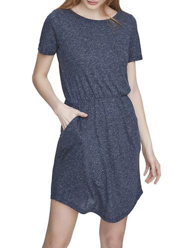 Vero Moda Lua Linen-Blend Textured Short Dress-BLUE-Medium