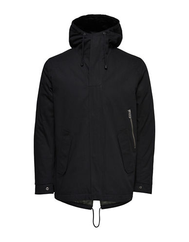 Only And Sons Hooded Padded Cotton Parka-BLACK-Large