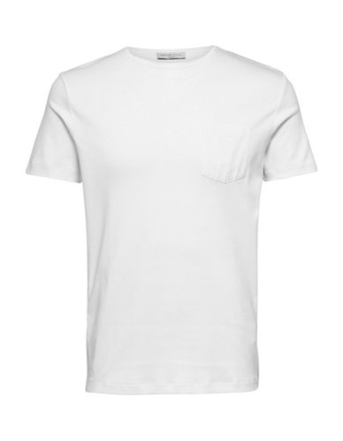 Selected Homme Classic Cotton Tee with Pocket-WHITE-X-Large