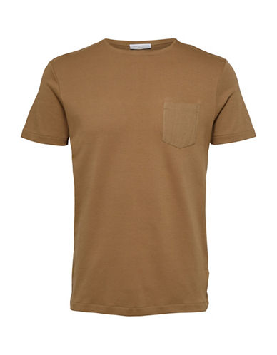 Selected Homme Classic Cotton Tee with Pocket-BROWN-Small