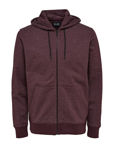 Only And Sons Heathered Zip Hoodie-RED-Large 89354687_RED_Large