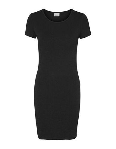 Vero Moda Jacinta Short Sleeve Sheath Dress-BLACK-Small