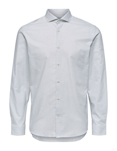 Selected Homme Geo-Print Cotton Sport Shirt-NATURAL-Small