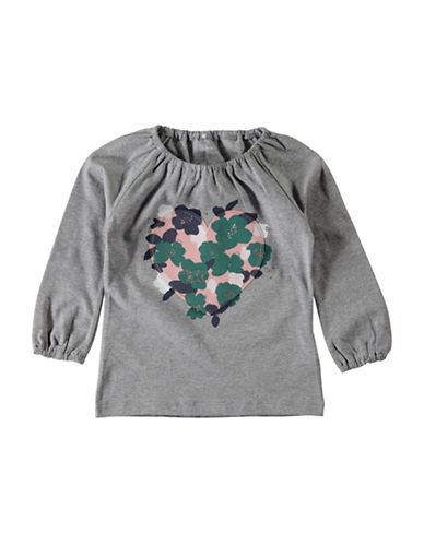 Name It Floral-Print Heart Applique Top-GREY-6