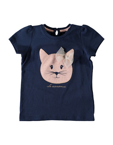 Name It Organic Cotton Cat Applique Top-BLUE-3T