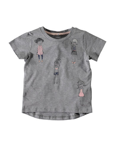 Name It Pleated Back Graphics Tee-GREY-3T