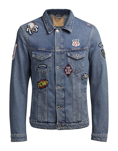 Jack & Jones Patched Denim Jacket-BLUE-XX-Large