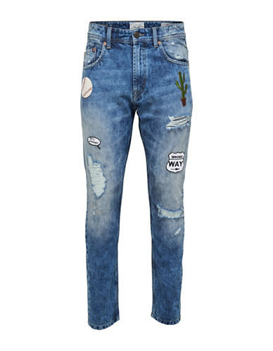 Only And Sons onsCARROT Patch Distressed Jeans-BLUE-29X32