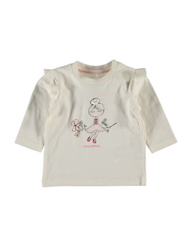 Name It Ruffled Graphic Top-WHITE-6 Months