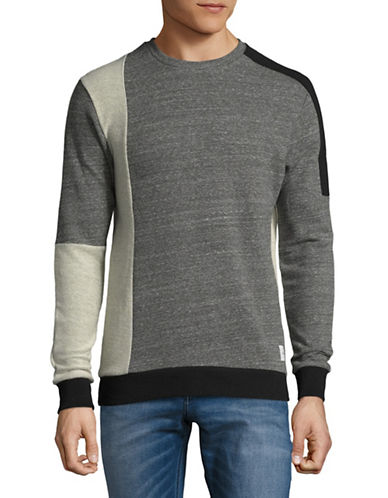 Only And Sons Mixed Fabric Crew Neck Cotton Sweater-CHARCOAL-Small