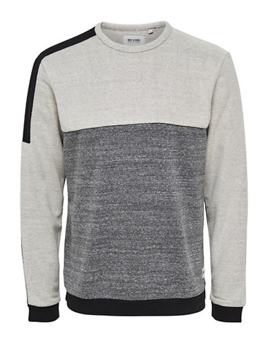 Only And Sons Mixed Fabric Crew Neck Cotton Sweater-GREY-X-Large