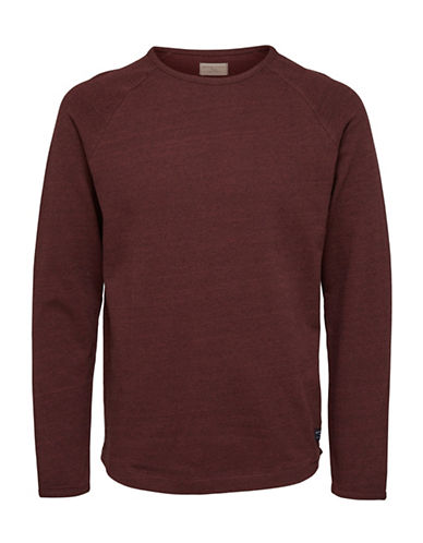 Selected Homme Heathered Long-Sleeve Tee-BROWN-X-Large