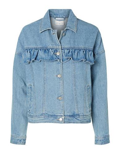 Vero Moda Olivia Ruffle Short Denim Jacket-BLUE-Medium