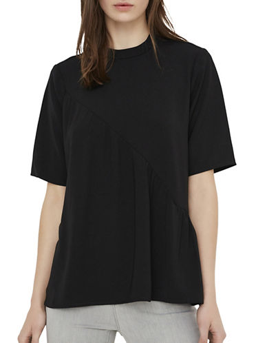 Vero Moda Siri Flounce Short Sleeve Top-BLACK-X-Small 89342584_BLACK_X-Small