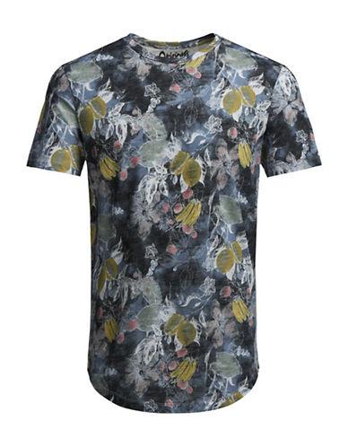 Jack & Jones Floral Print T-Shirt-BLUE-Large