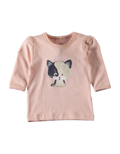 Name It Ruffle-Sleeve Graphic Top-PINK-2 Months