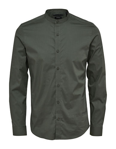 Only And Sons Mandarin-Collar Shirt-GREEN-Medium