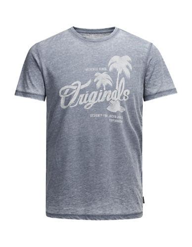 Jack & Jones Print Short Sleeve T-Shirt-BLUE-Large