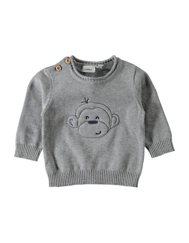 Name It Monkey Embroidered Sweater-GREY-2 Months