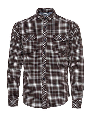 Only And Sons Tio Plaid Button-Down Shirt-RED-XX-Large