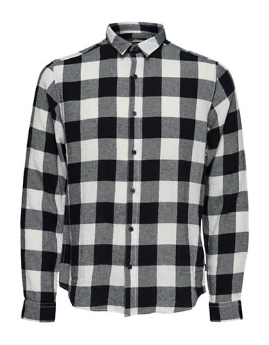Only And Sons Checkered Cotton Casual Button-Down Shirt-BLUE/WHITE-Large