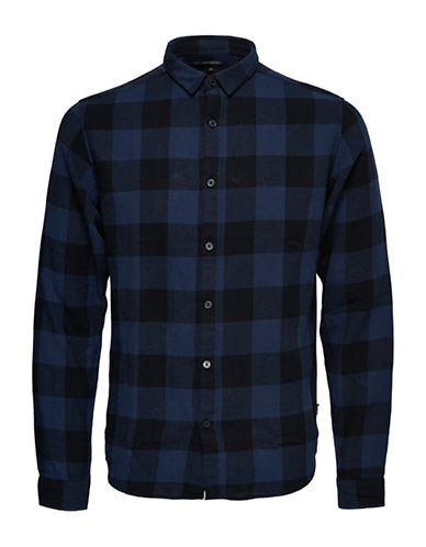 Only And Sons Checkered Cotton Casual Button-Down Shirt-BLUE-Small