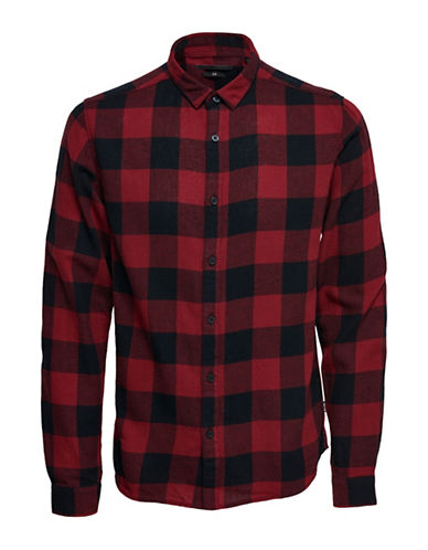 Only And Sons Checkered Cotton Casual Button-Down Shirt-RED-Large
