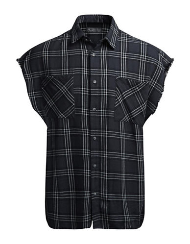 Jack & Jones Sleeveless Plaid Button Shirt-DARK GREY-X-Large