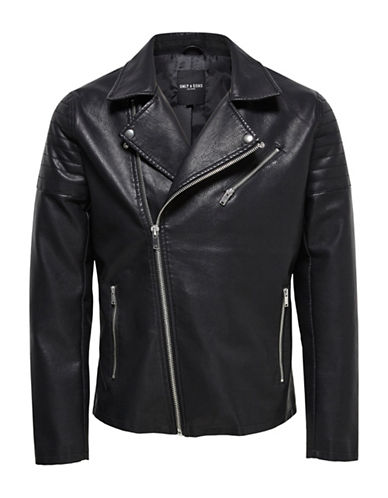Only And Sons onSSTEFFEN Biker Faux Leather Jacket-BLACK-Large