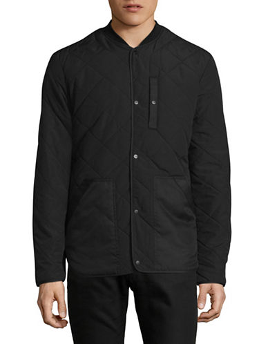 Only And Sons Quilted Bomber Jacket-BLACK-Large