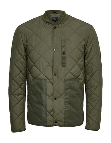 Only And Sons Quilted Bomber Jacket-GREEN-Medium