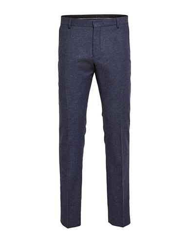 Selected Homme Slim-Fit Wool-Blend Trousers-BLUE-36