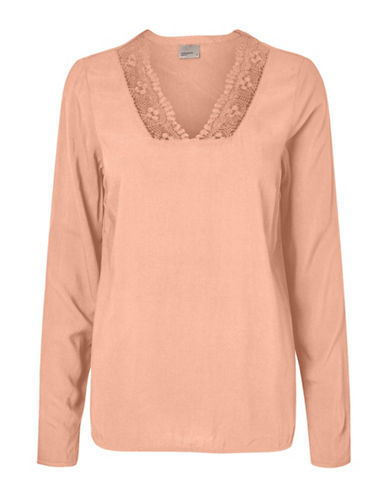 Vero Moda Who Whitlee Lace-Trimmed Top-PINK-Large 89105158_PINK_Large