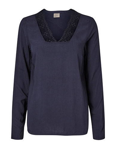 Vero Moda Who Whitlee Lace-Trimmed Top-BLUE-X-Small 89105151_BLUE_X-Small