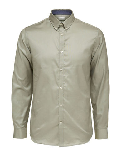 Selected Homme Classic Cotton Shirt-GREEN-Medium