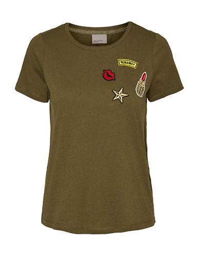 Vero Moda Army Badge Tee-GREEN-X-Small 89105207_GREEN_X-Small