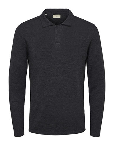 Selected Homme Slim Long Sleeve Polo-GREY-Medium