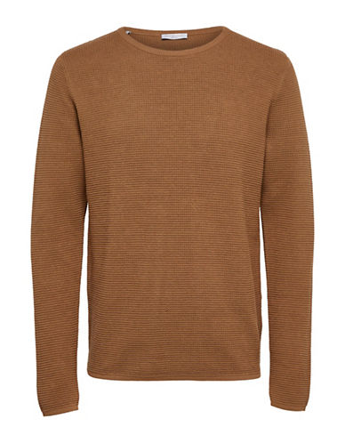 Selected Homme Textured Cotton Knit Sweater-BROWN-Large