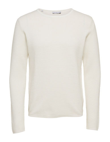 Selected Homme Textured Cotton Knit Sweater-WHITE-Medium
