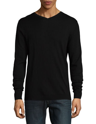 Jack And Jones Premium Jprluke Cashmere Blend Knit V-Neck Sweater-BLACK-X-Large