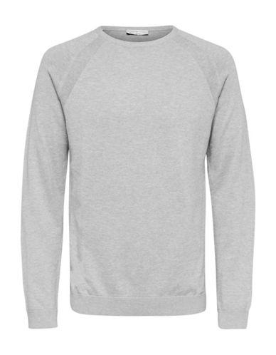 Selected Homme Heathered Crewneck Sweater-GREY-Medium 89615235_GREY_Medium
