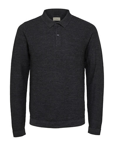 Selected Homme Wool-Blend Polo-GREY-Large