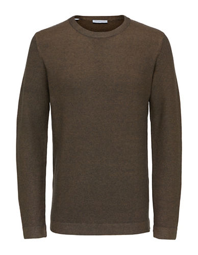 Selected Homme Tonal Cotton Sweater-BROWN-X-Large