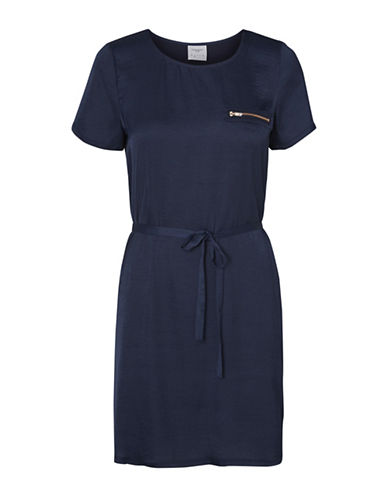 Vero Moda Vmvictoria Zip Detail T-Shirt Dress-BLUE-Medium